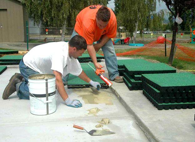 монтаж резиновой плитки на клей